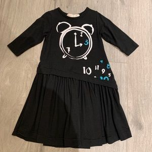 Teela Black Graphic Dress Size 5 for Kids